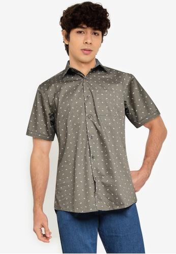 Fidelio green Microprinted Short Sleeves Shirt 867A9AAB6BDE93GS_1