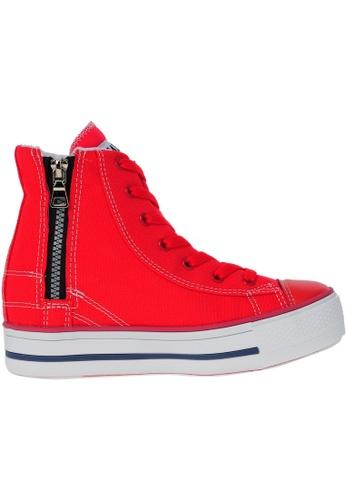 Maxstar red Maxstar Women's C2 7 Holes Line Zipper Hidden Heel Canvas High Top Sneakers US Women Size MA164SH01PUGSG_1