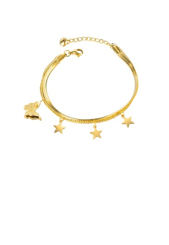 Glamorousky silver Fashion Simple Plated Gold Butterfly Star 316L Stainless Steel Double-layer Bracelet 6360EAC2E5D5B2GS_1