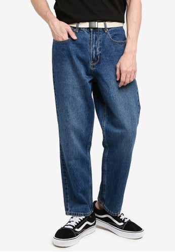 URBAN REVIVO blue Belted Denim Jeans 6995FAAD428A92GS_1