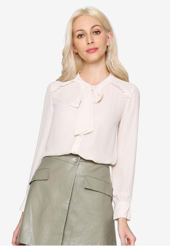 Hopeshow beige Collar Ribbon Long Sleeve Button Blouse 0B784AAA5D8BACGS_1