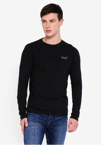 Superdry black O L Vintage Embroidery L/S Tee 08176AAE546C7EGS_1