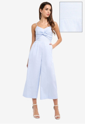 Forever New blue Harriet Twist Front Stripe Jumpsuit 3F35BAA3AFF280GS_1