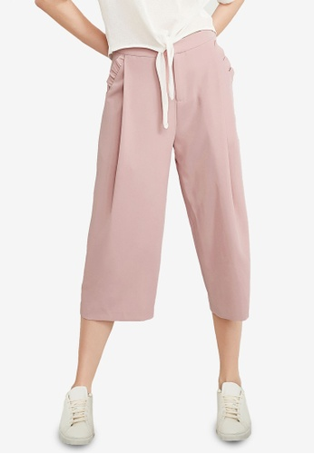 Hopeshow pink Frill Pockets Cropped Pants EF5FEAA36D52ACGS_1