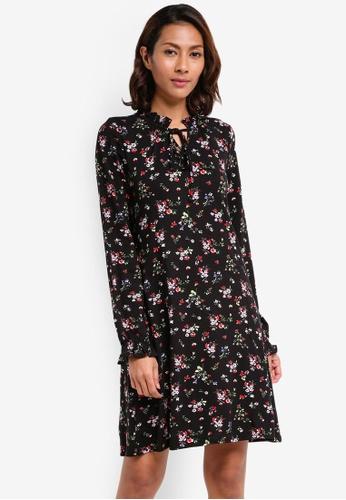 Dorothy Perkins black Floral Swing Dress 27212AABA668CFGS_1