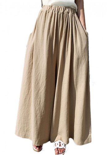 Sunnydaysweety beige Cotton Hemp Wide Leg Pants CA052004KI 5AB30AACE8C574GS_1