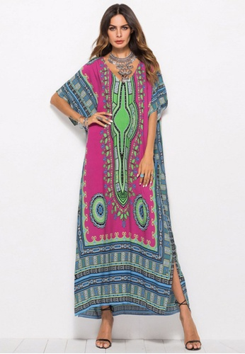 Kings Collection red African Ethnic Print Beach Long Dress (KCCLSP2107) 8CA88AA38571D2GS_1