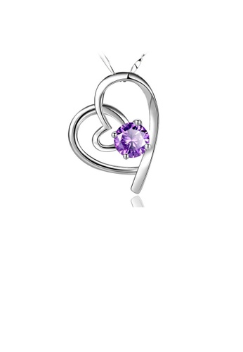 Glamorousky purple Fashion 925 Sterling Silver Heart Pendant with Purple Cubic Zircon and Necklace 37C9CAC1ED8744GS_1