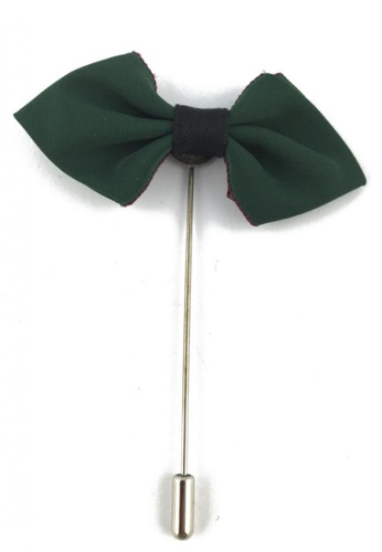 Splice Cufflinks silver Dark Green Fabric Cloth Bow Lapel Pin SP744AC35FKYSG_1