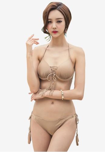 ZITIQUE beige Three Piece Bikini Set With Cover-Up 18FA9US2F9DA7AGS_1