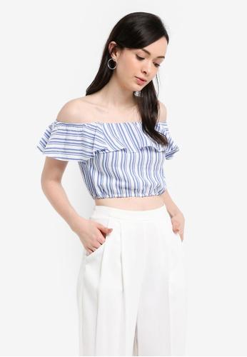 Miss Selfridge multi Lined Blue Stripe Bardot Top FFD1BAAC14A87DGS_1