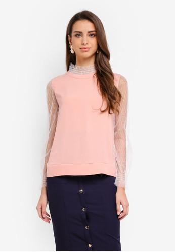 KLEEaisons pink Mixed Fabric Smocking Blouse BB4E0AA94E58C9GS_1