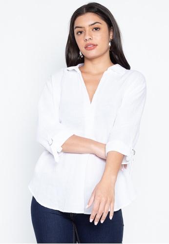 DEBENHAMS white Principles - Pc Ls Linen D Ring Shirt 64555AAA608C43GS_1