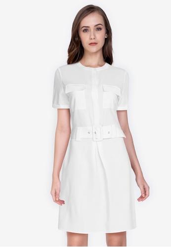 ZALORA WORK 白色 Short Sleeves Pleated Detail Dress 9DD2EAA188311FGS_1