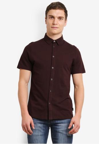 Burton Menswear London red Burgundy Short Sleeve Pique Shirt BU964AA0SD27MY_1