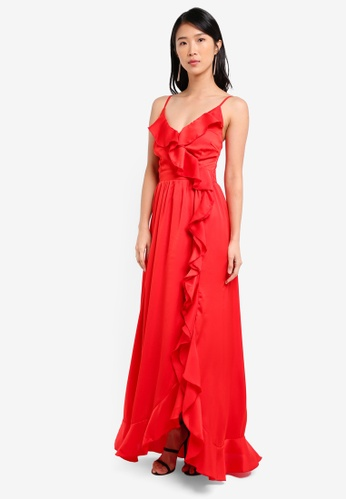 Little Mistress red Strappy Maxi Dress with Ruffle Details LI976AA0SHRFMY_1