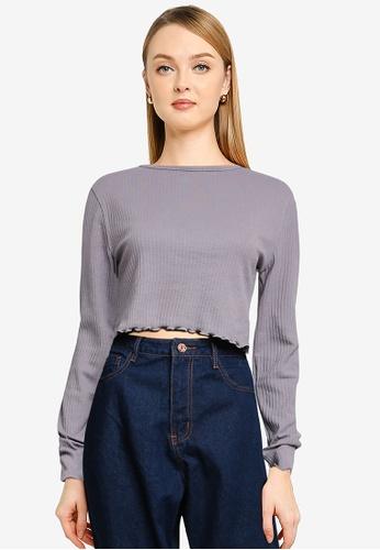 MISSGUIDED 紫色 Tall 褶飾下擺短版上衣 3C05AAADFE5C0DGS_1