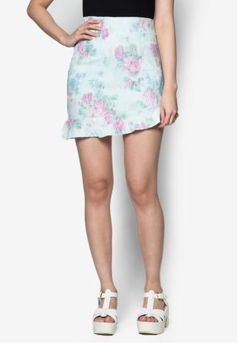 花zalora 心得卉印花短裙, 服飾, 迷你裙