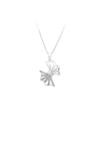 Glamorousky silver 925 Sterling Silver Bow Pendant with White Cubic Zircon and Necklace 37B51ACC132C93GS_1