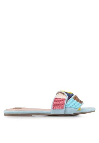 Velvet blue Beaded Sandals D06C8SH308E2BFGS_1