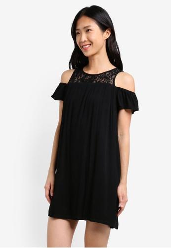 ZALORA black Lace Yoke Cold Shoulder Dress B27FBAAC711854GS_1