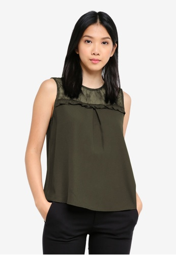 ZALORA BASICS green Lace Yoke Top 3872EAA208F912GS_1