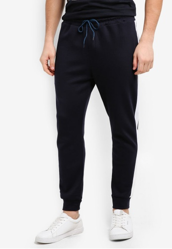 UniqTee navy Cotton Joggers With Textured Stripe 27400AA808AD3EGS_1