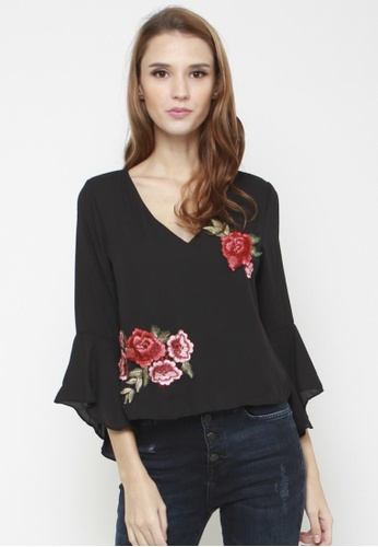 Sophialuv black Open Secrets Blouse in Black 79EEBAA1F94FD0GS_1