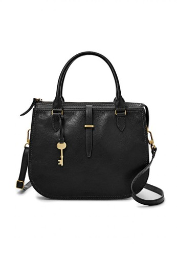 Fossil black Fossil Ryder - Leather - Satchel - Black - Tas Wanita - ZB7412- dc60d4d152