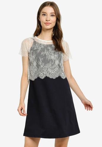 UniqTee black Mini Dress with Lace Top A0341AA031CE93GS_1