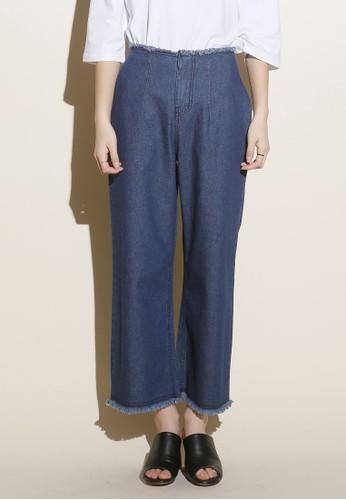 韓式風格丹寧鬢毛闊管長esprit china褲, 服飾, 牛仔褲