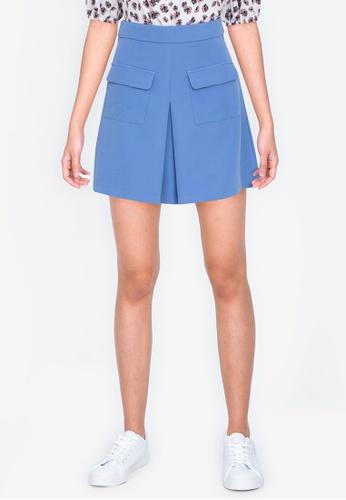 ZALORA BASICS blue Box Pleat Mini Skirt 7EE6BAAF865C0FGS_1