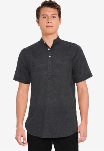 Fidelio 黑色 中山領 短袖 襯衫 B7EFDAA4318A07GS_1
