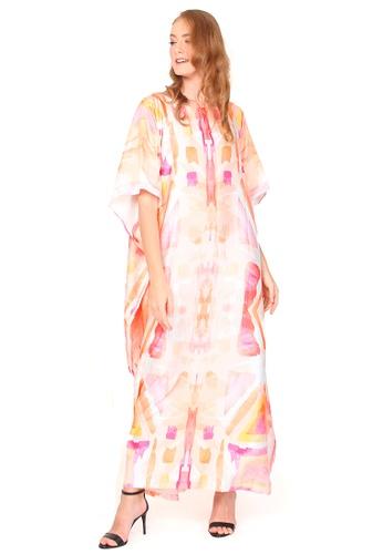 Kanzi by liza yahya orange Kanzi Exclusive Short Sleeve Painted Kaftan 3E29DAA96DBC09GS_1