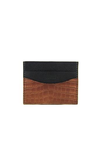 Barnns brown Barnns Terra Crocodile Leather Card Holder in Cafe 8FCD5AC58CAA55GS_1