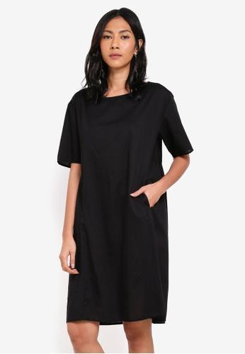 OVS black Woven Dress With Pockets DF5A7AA9F0A1F7GS_1