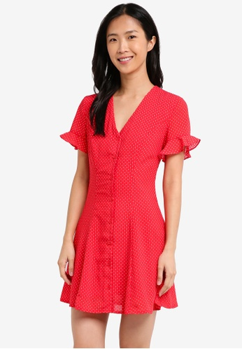 ZALORA red Button Front Fit And Flare Dress AAA78AA60718D6GS_1