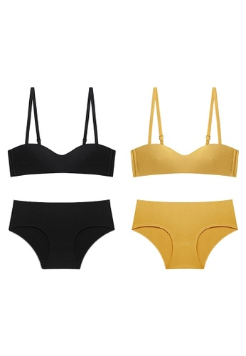 K.Excellence yellow Premium Comforn Black&yellow Lingerie Set (Bra and Underwear) 03DCAUS521623AGS_1