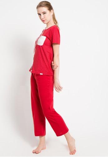 PUPPY red Short Sleeve Long Pants Print Polkadot PU643AA89XFIID_1
