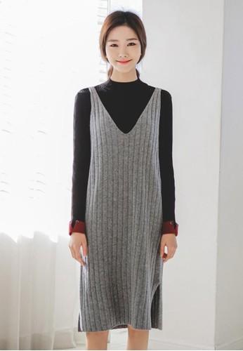 羊羔毛V領esprit part time針織連衣裙, 服飾, 及膝洋裝