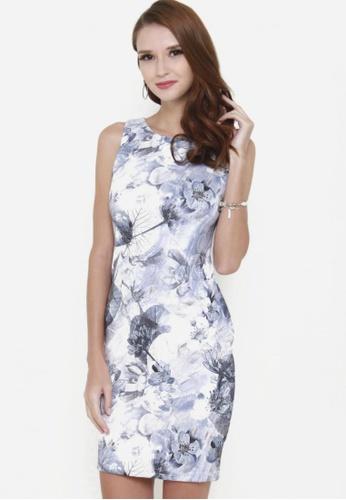 Sophialuv blue Feeling Bloom Sleeveless Bodycon Dress in Icy Blue 86695AA4FAEA7EGS_1