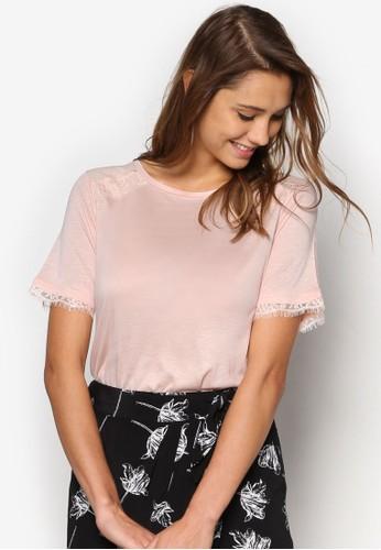 蕾絲邊飾短袖T-shirt、 服飾、 上衣WAREHOUSE蕾絲邊飾短袖上衣最新折價