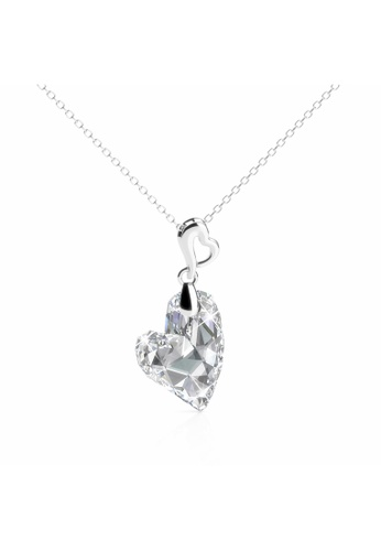 Her Jewellery silver Purely Heart Pendant (White) - Licensed Genuine Crystals from Swarovski® HE581AC0RAZ2MY_1