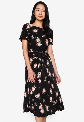 Dorothy Perkins black Tall Floral Pleated Dress 6D5D1AAC94C454GS_1