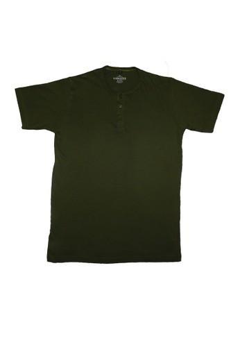 Hangdeb green Short Sleeve Henley T-Shirt 37CCFAAB012E4CGS_1