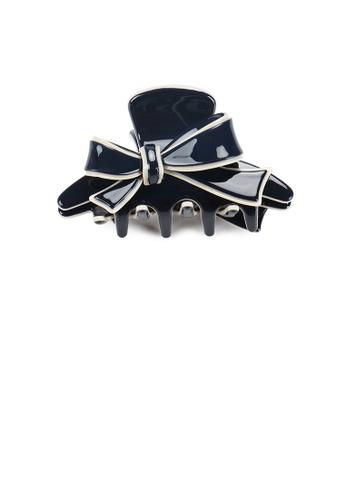Glamorousky silver Fashion and Elegant Beige Side Ribbon Blue Large Hair Claw 100B7AC2E8F832GS_1