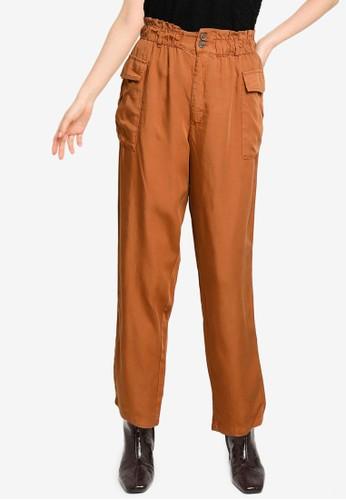 JACQUELINE DE YONG brown Silja Life Cargo Pocket Ankle Pants CB410AAC50979EGS_1