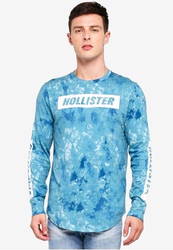 Hollister 藍色 LOGO長袖印花T恤 D1274AAD39A45DGS_1