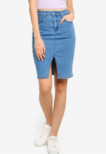 ZALORA BASICS blue Front Slit Denim Skirt EC21FAAE9BDAF5GS_1