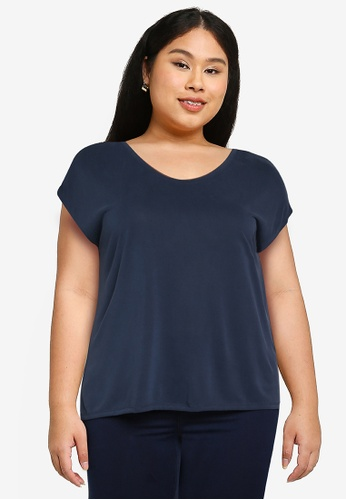 Only CARMAKOMA navy Plus Size Nicky Short Sleeves Tee 0CF58AAD1E8463GS_1